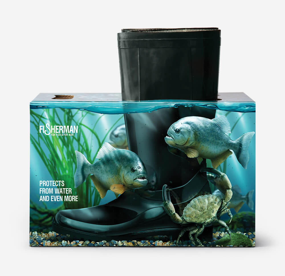 boot packaging designed with fish and crabs in the design