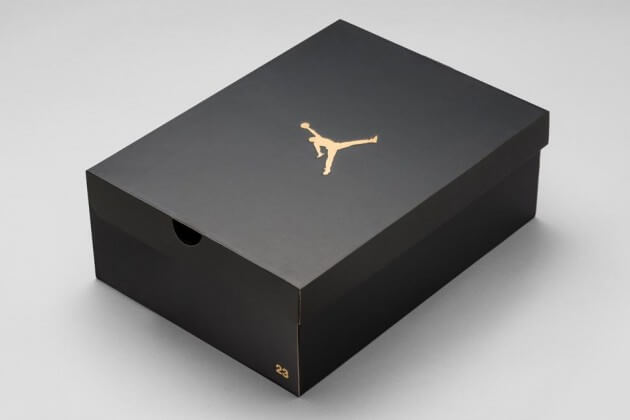 black jordan brand shoebox with embossed jumpan and 23