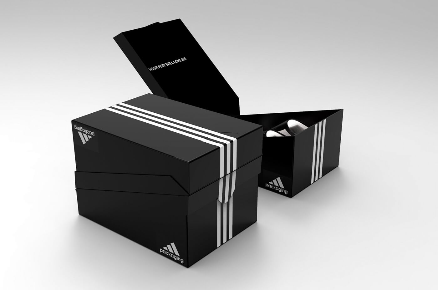 three black concept adidas shoe boxes, one open and two stacked on top of one another