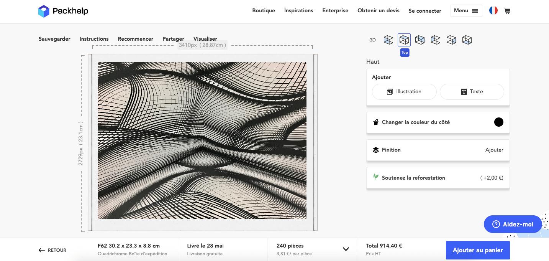 Création graphique ajoutée sur un emballage