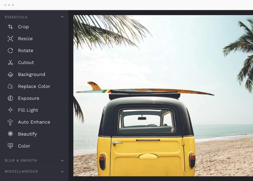 Panneau d'interface pour améliorer les photos sur BeFunky