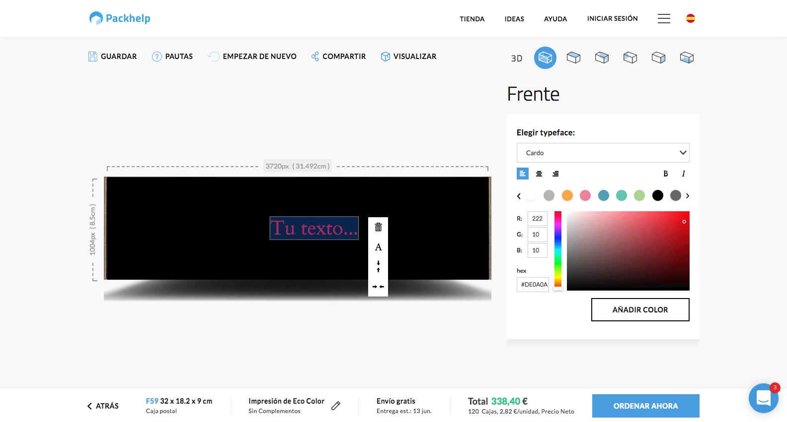 El editor de Packhelp para cajas 2