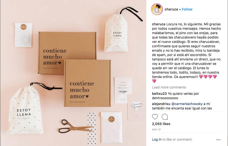 Photo packvertising et compte Instagram de Charuca