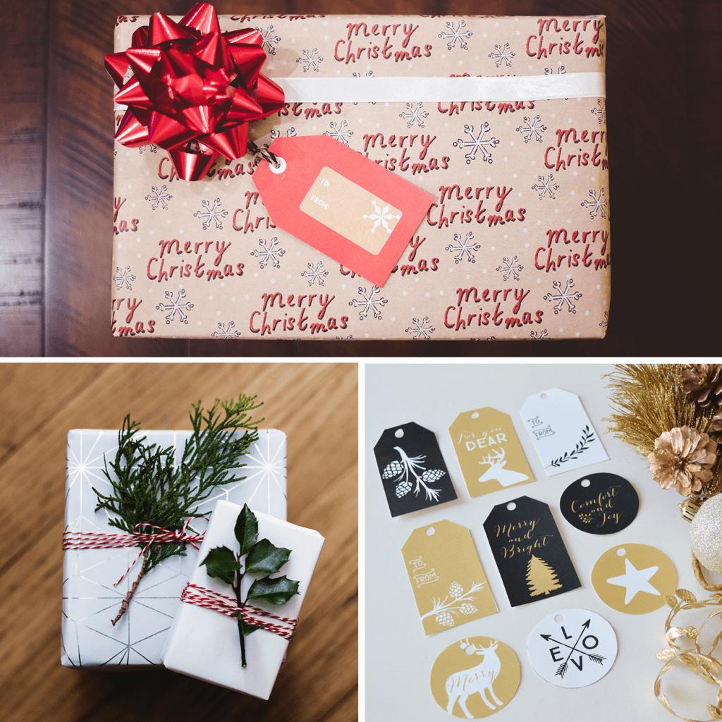 Décorations de Noël utilisées pour les emballages