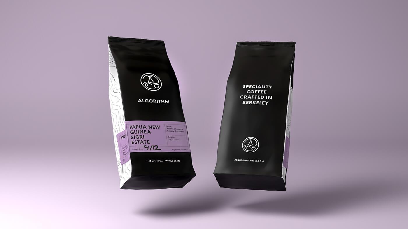 Packaging noir et violet du café Algorithm