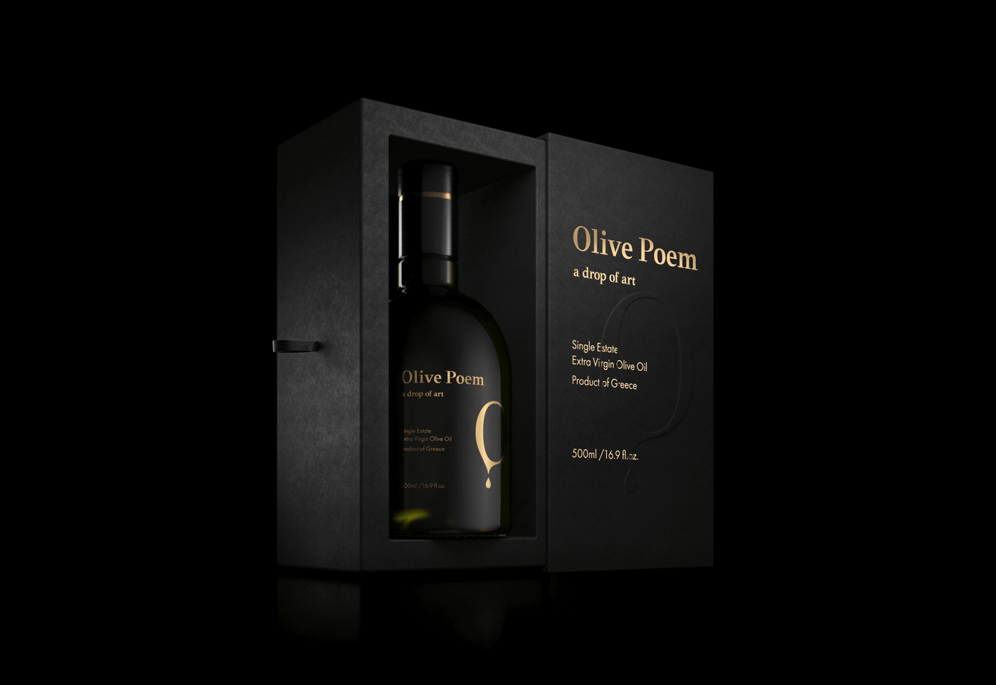 Bouteille d'huile d'olive dans sa boîte noire Olive Poem
