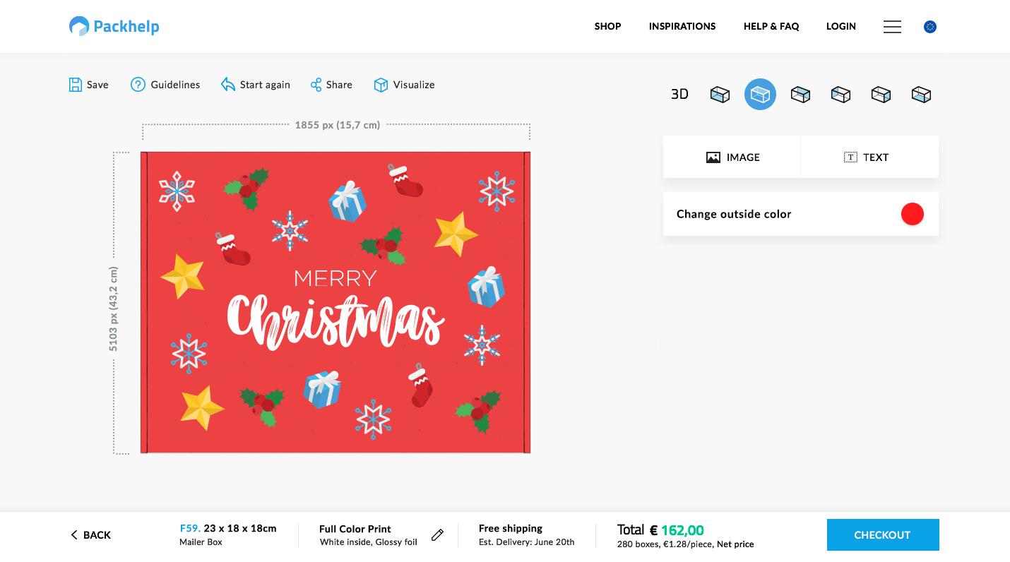 packaging natalizio con l'editor