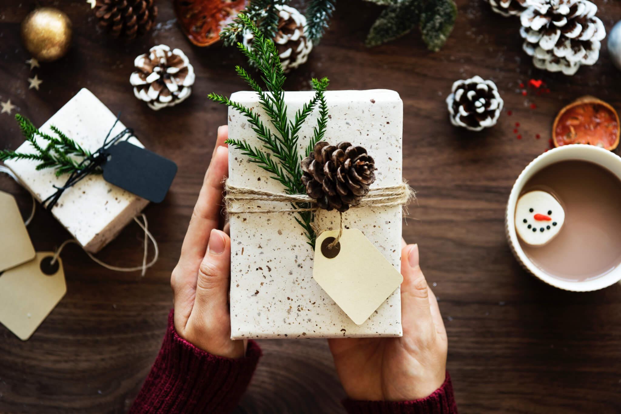 Pommes de pin qui décorent un packaging de Noël