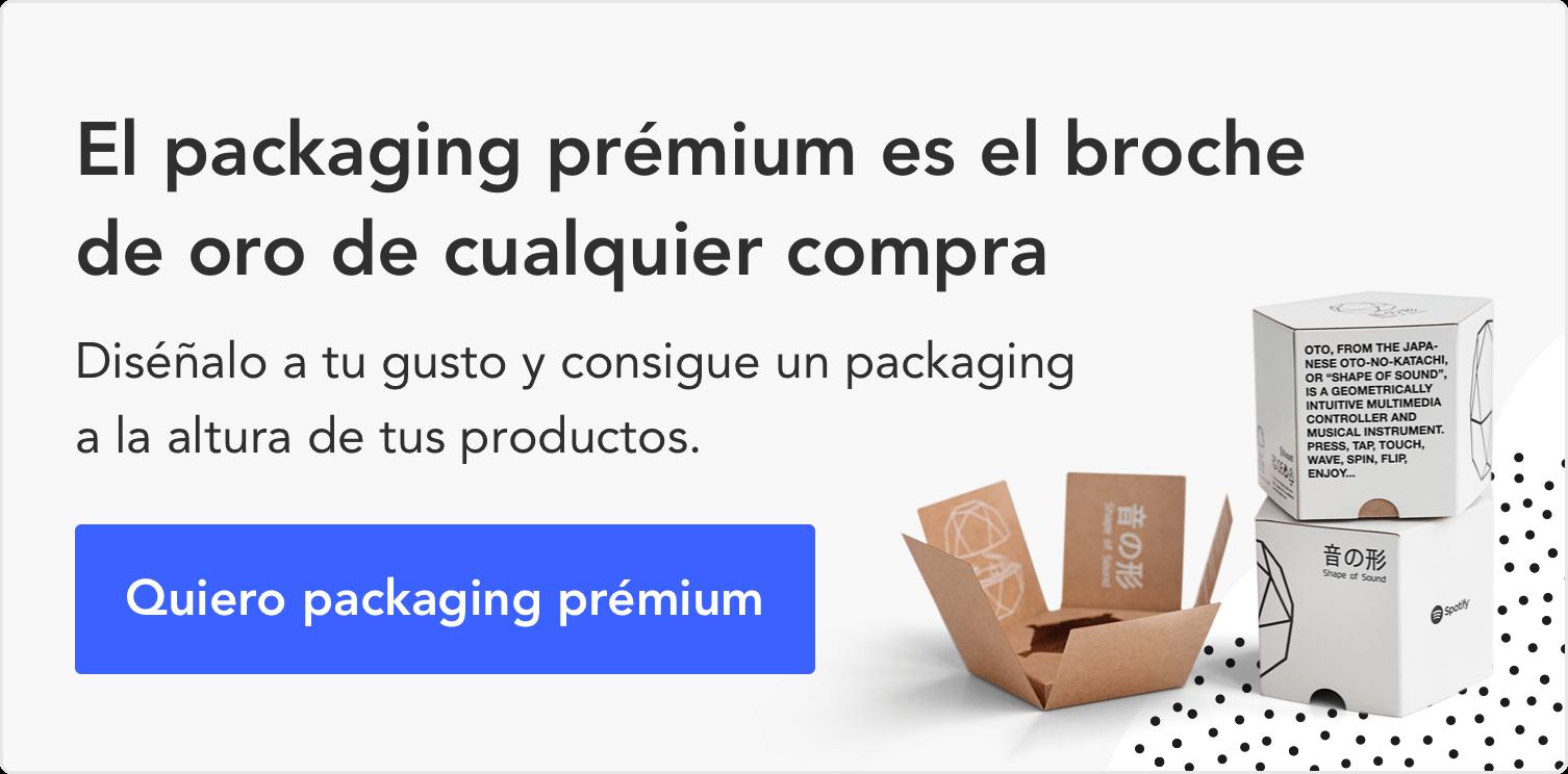 anuncio que promociona el packaging prémium