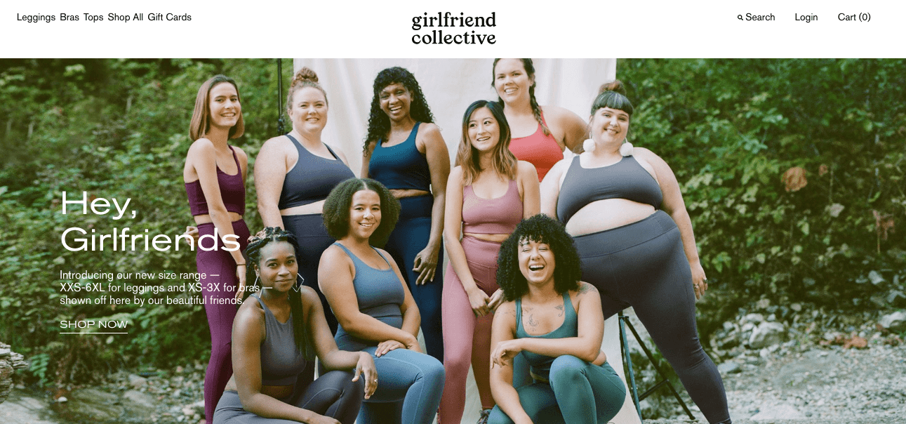 Site web de Girlfriend Collective, marque de vêtements de sport inclusive et écolo
