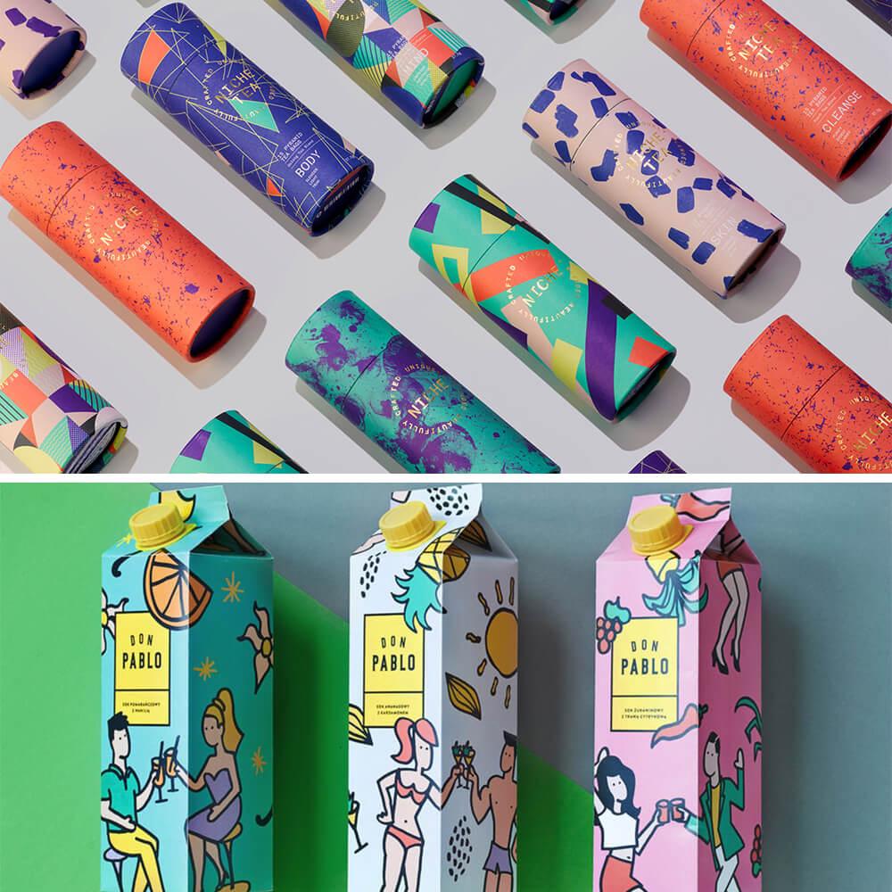 Designs d'emballages avec des motifs