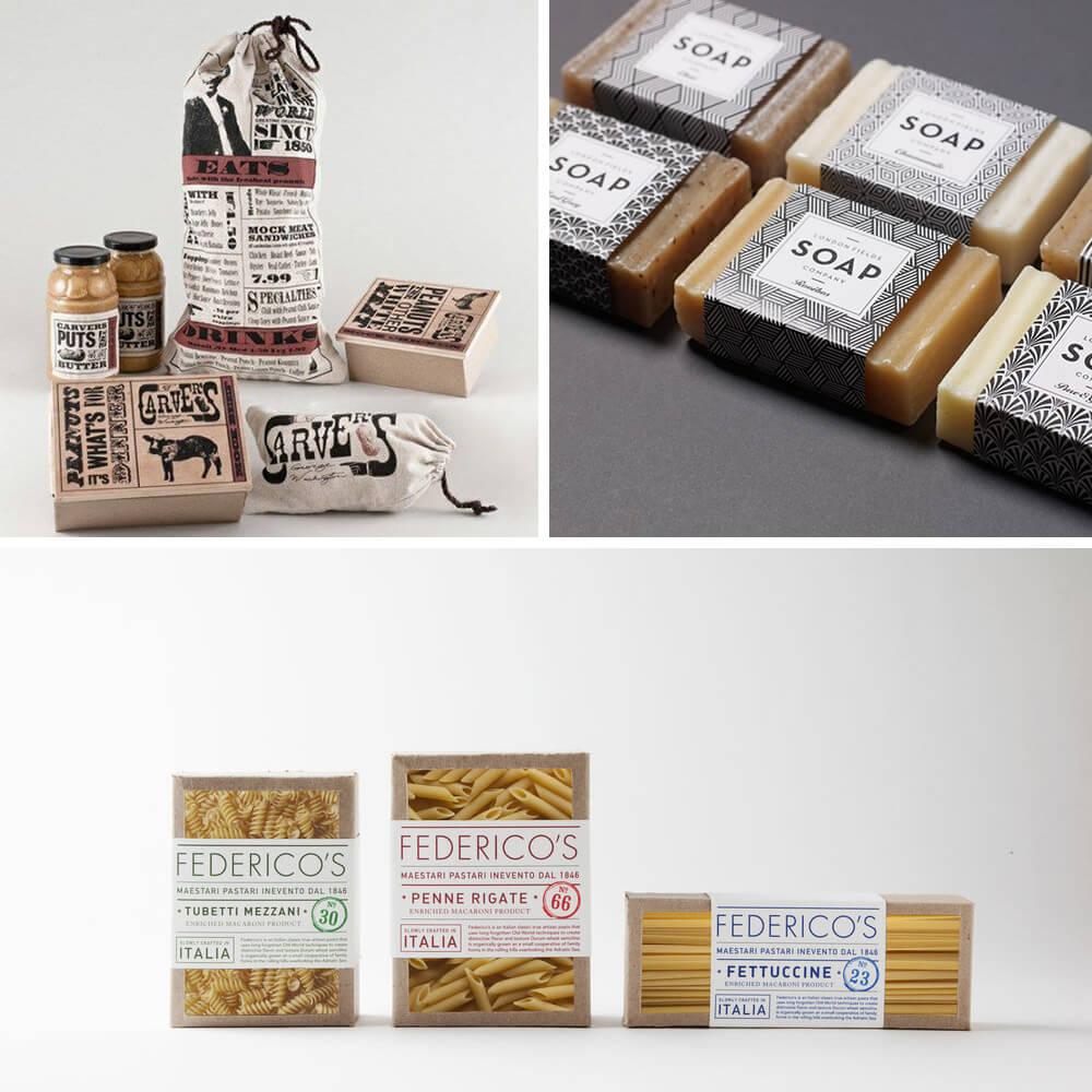 Exemples de designs d'emballages rustiques