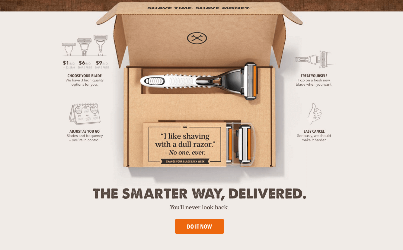 Unboxing original de Dollar Shave Club