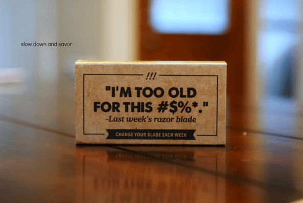 Packaging original et amusant de Dollar Shave Club