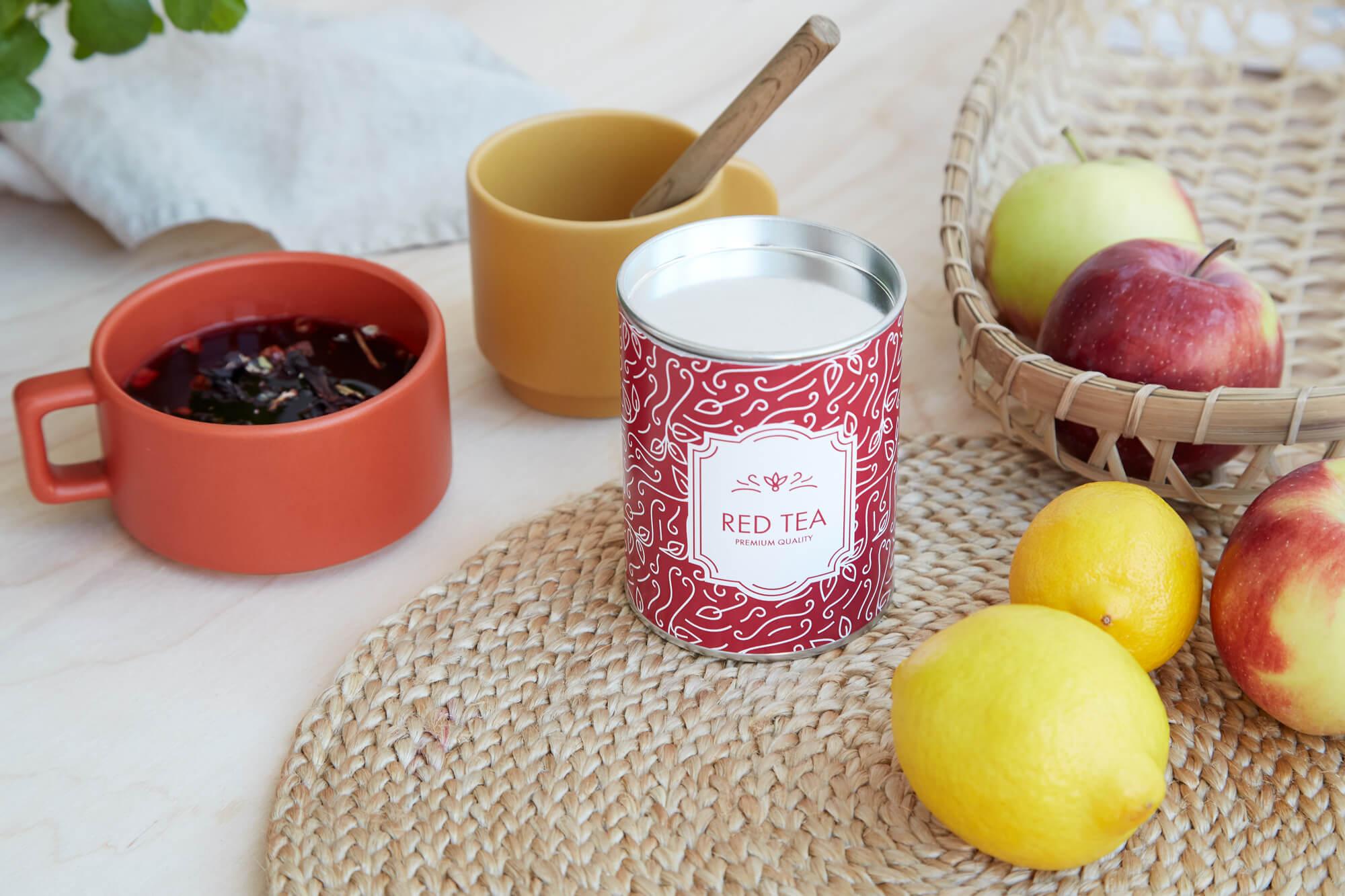 packaging cilíndrico para guardar bolsas de té