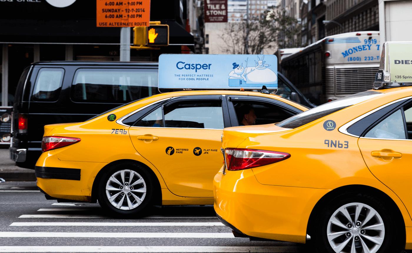 Publicité sur les taxis de la marque D2C de matelas Casper