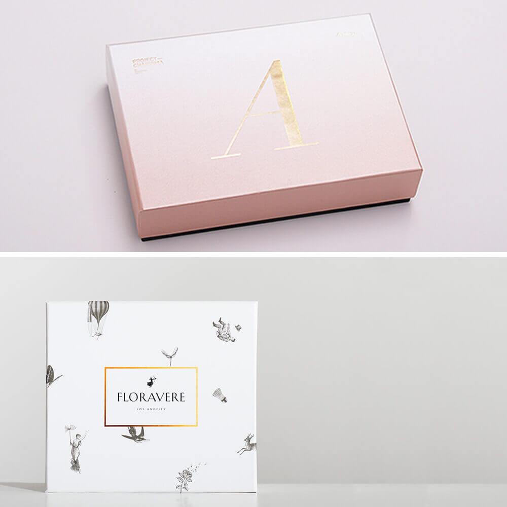 Boîte carton sur mesure avec marquage à chaud couleur or