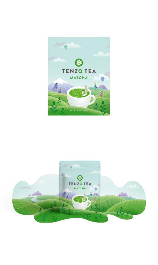 Teeverpackung Flat Design