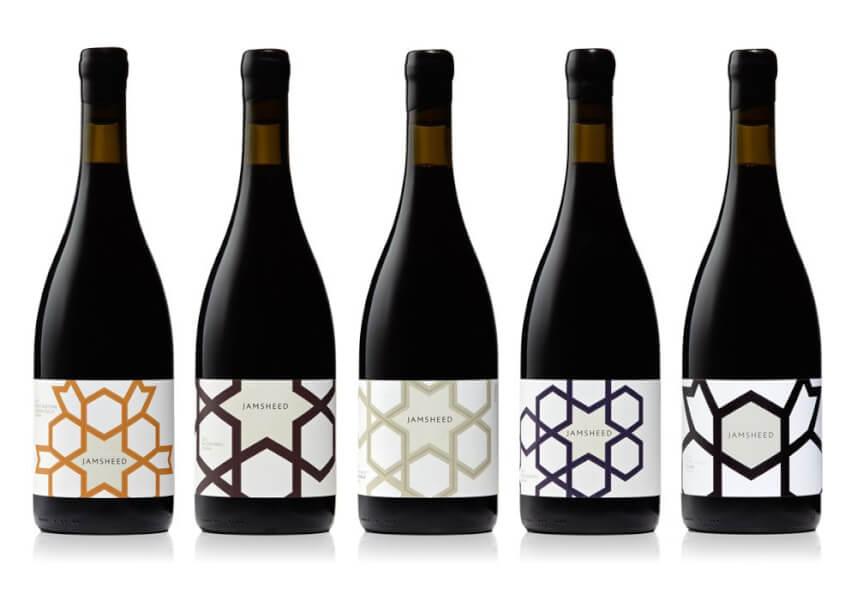 jamsheed design de l'étiquette de vin