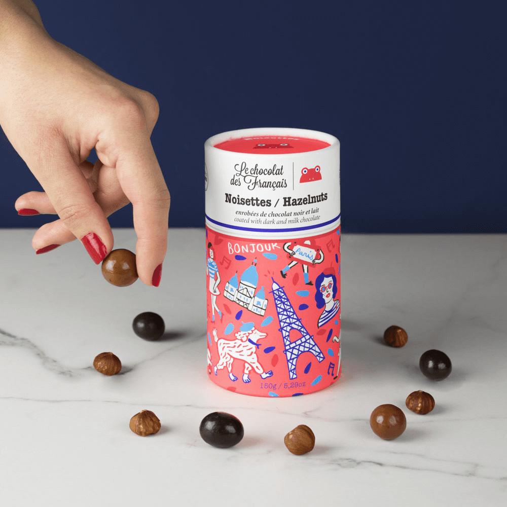 Tube en carton pour noisettes de chocolat de la marque Le Chocolat des Français
