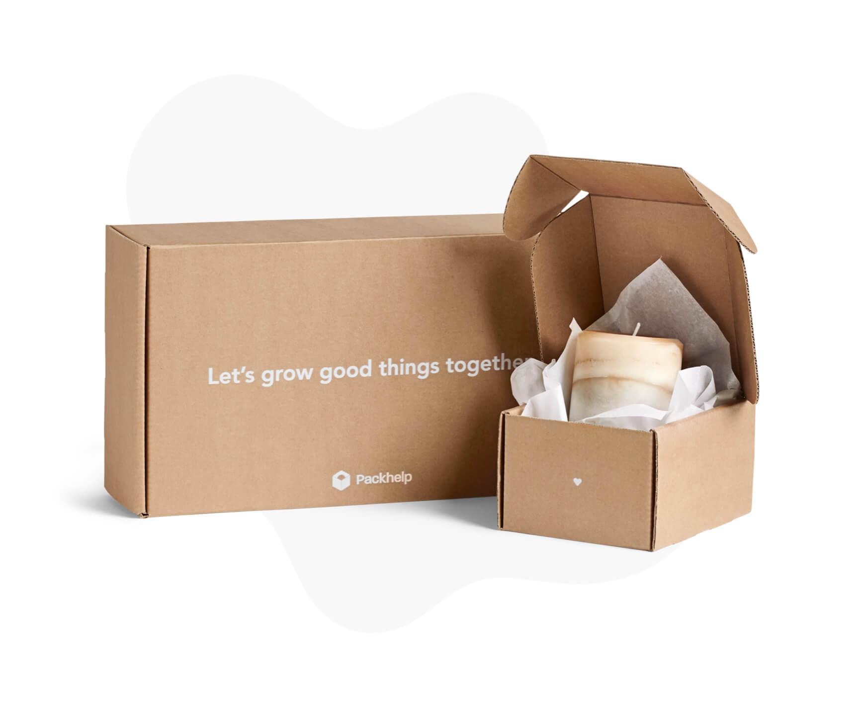 kraft mailer boxes white print