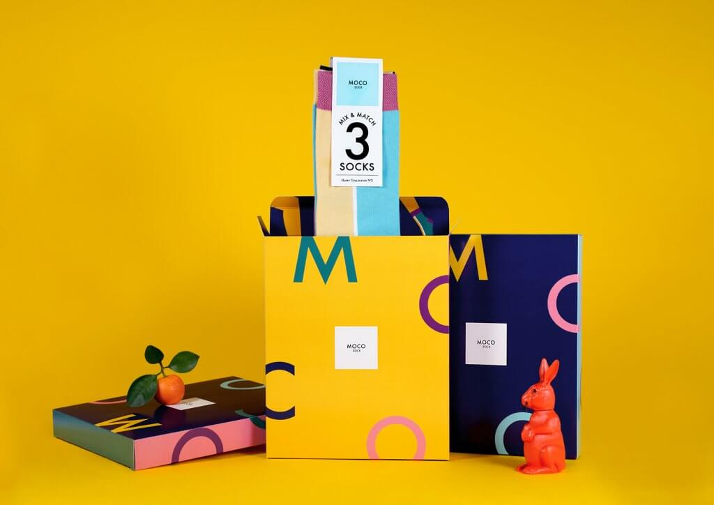 printed product boxes with socks
