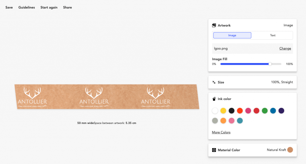 online designer packing tape