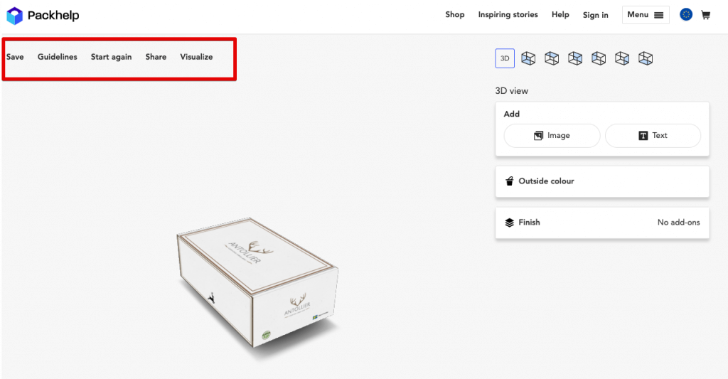 custom packaging packhelp editing options