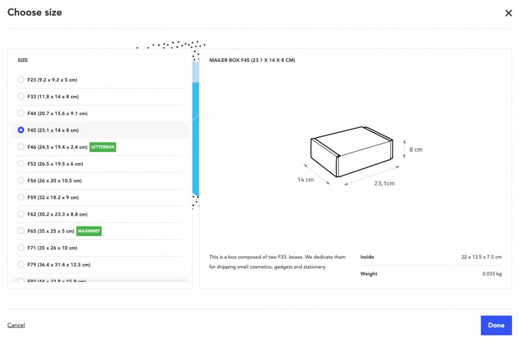 eco mailer box sizes