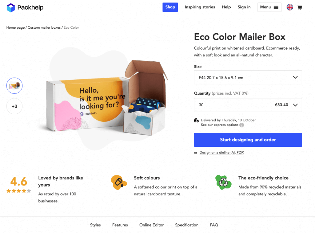 using an eco mailer box with canva