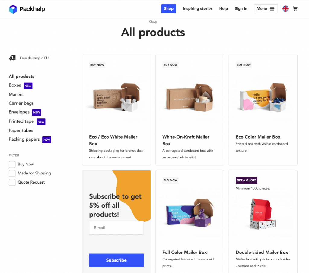 range of products from the packhelp shop
