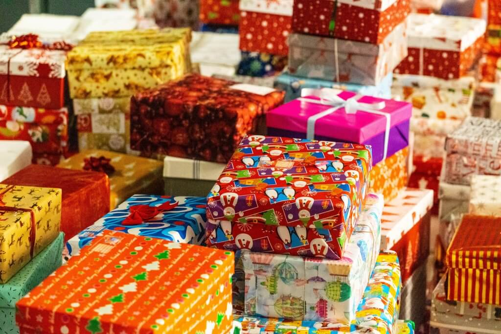 Boxes wrapped in Christmas paper