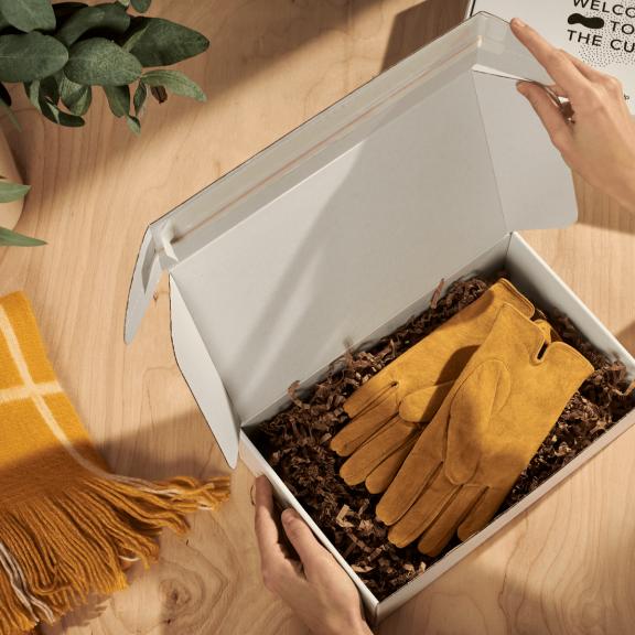 E-Commerce Versandbox von Oben offen, mit Handschuhen innen