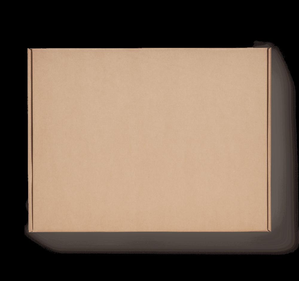 E-Commerce Versandbox ohne Aufdruck, braun von oben