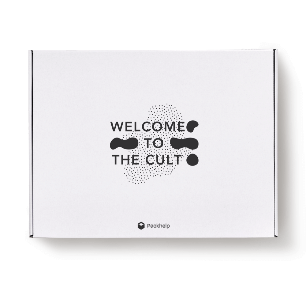 white ecommerce delivery box with print