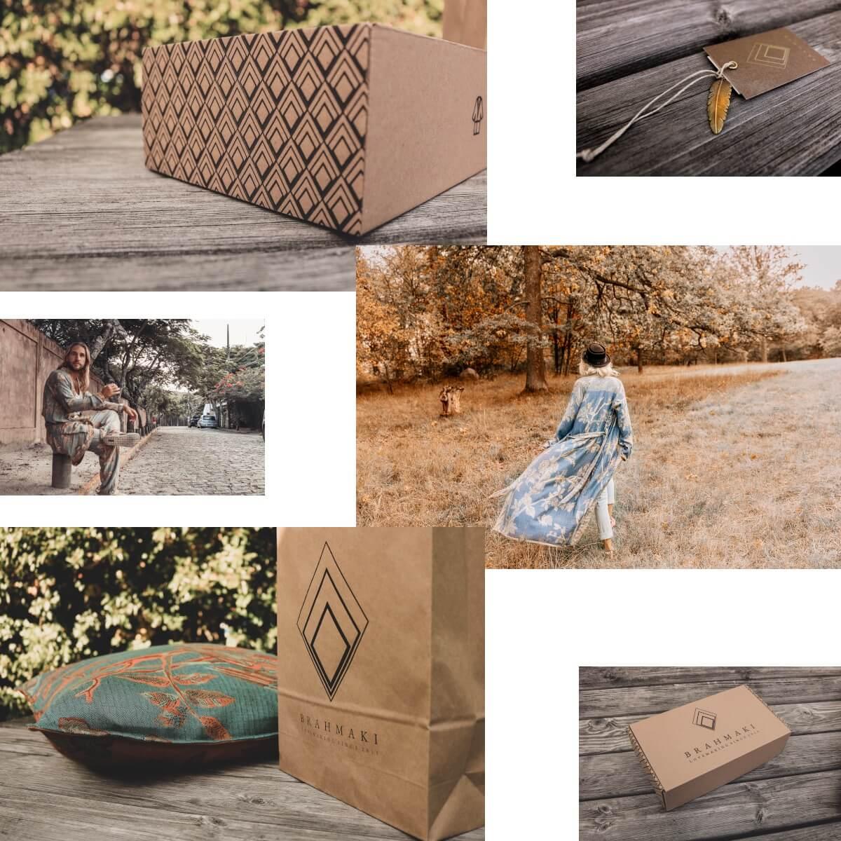 Eine Bilder Collage mit Brahmaki Models und Produkten.