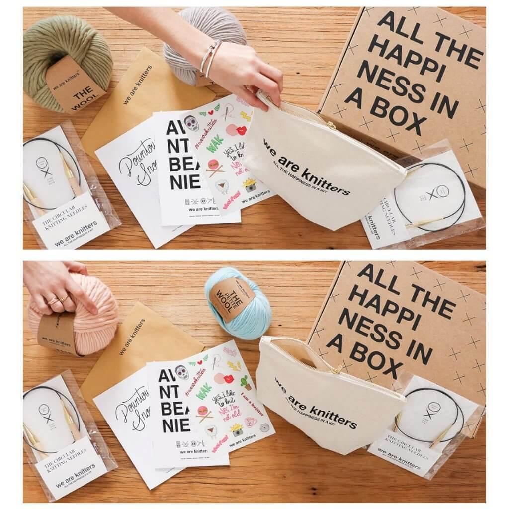 tištěná krabice k dodání pro pletací potřeby