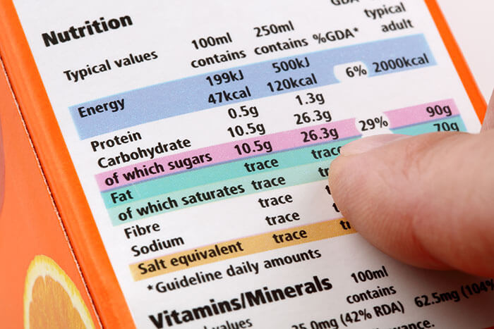 Informations nutritionnelles sur un emballage alimentaire