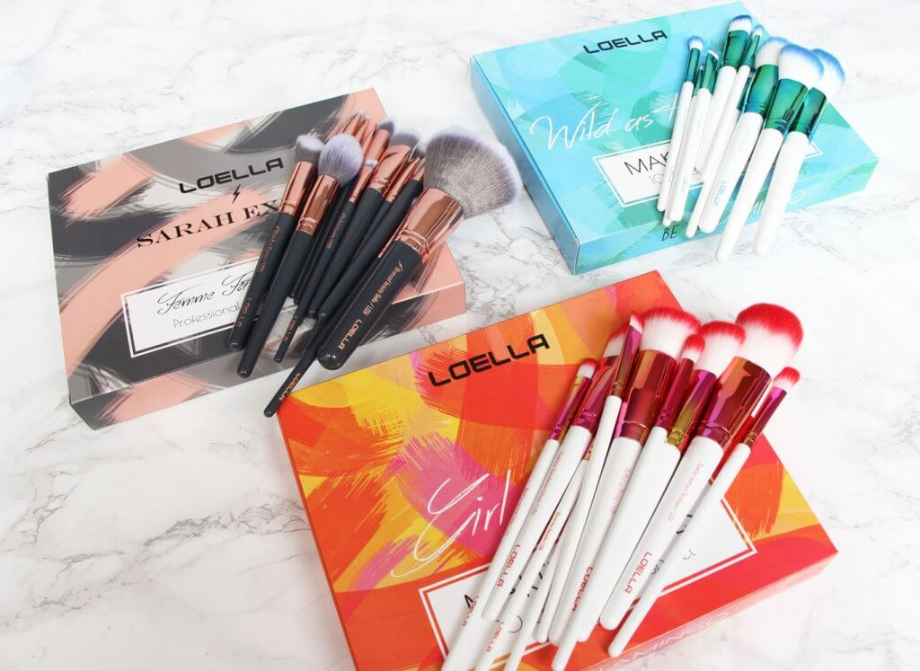 Loella Cosmetics makeup brushes packaging