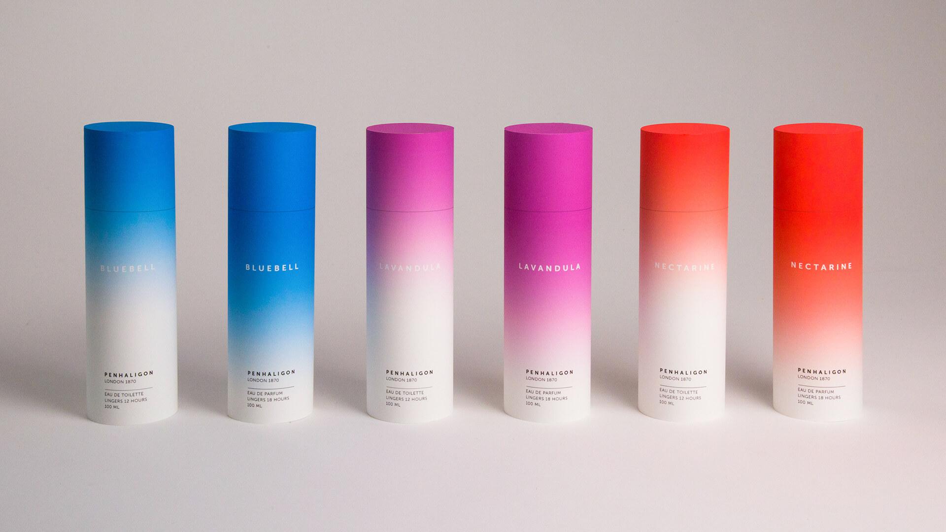 Boîtes de parfums en forme de tube avec un dégradé de couleurs
