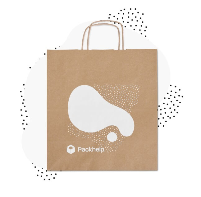 bolsa de papel kraft con un logo en blanco