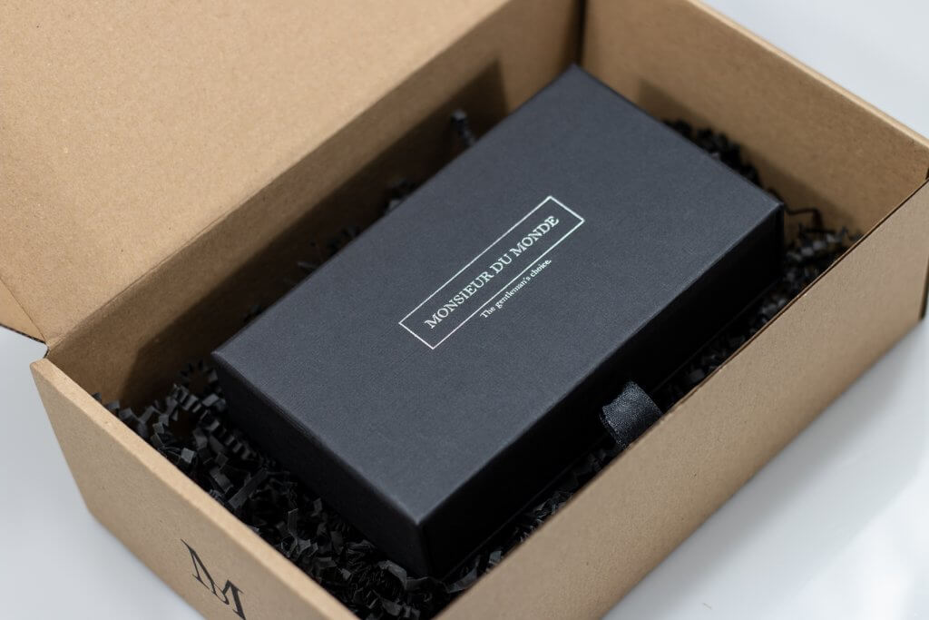 product box and mailer box for monsieur du monde