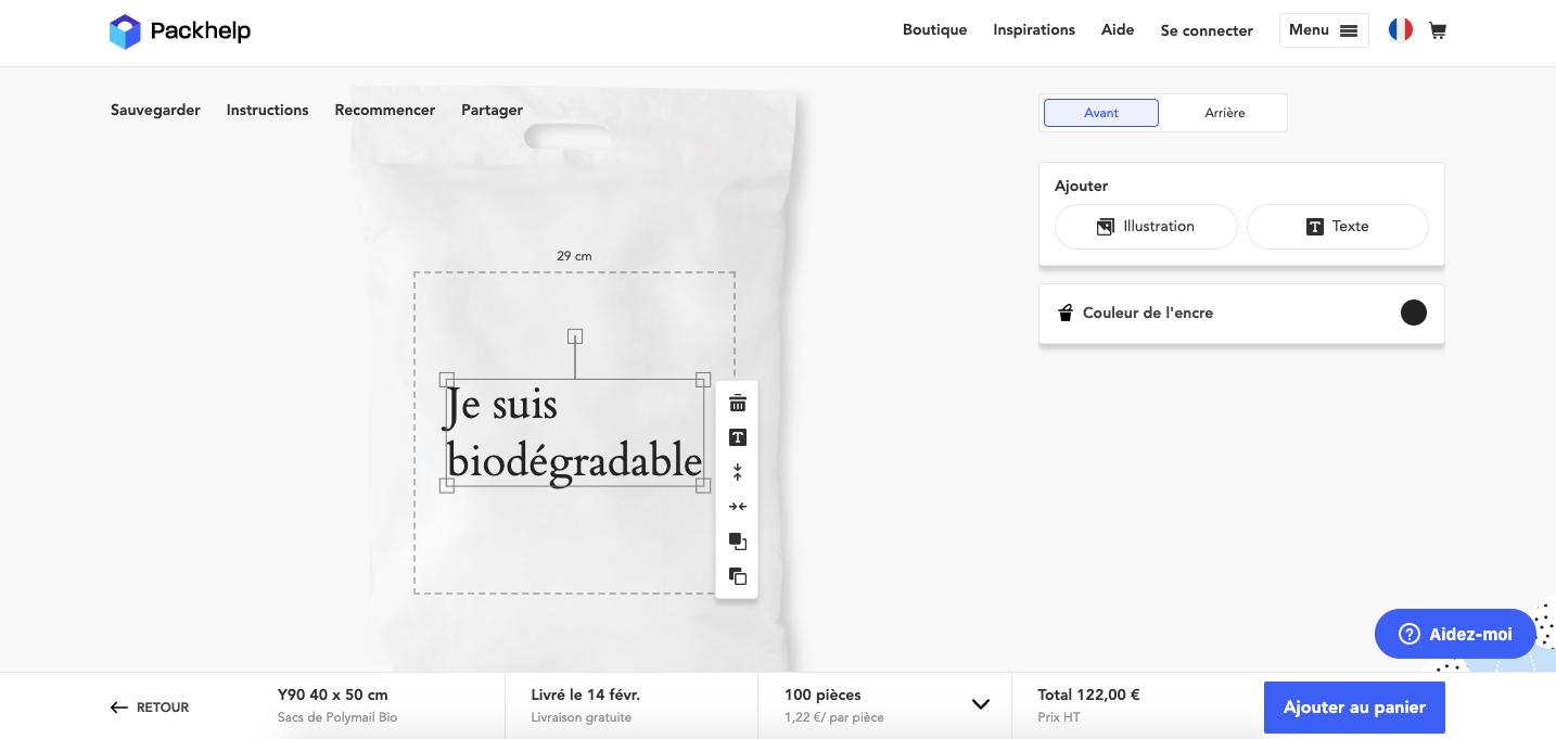 Pochette Packhelp en bioplastique