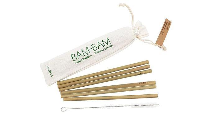 Ensemble de pailles en bambou avec pochette et brosse