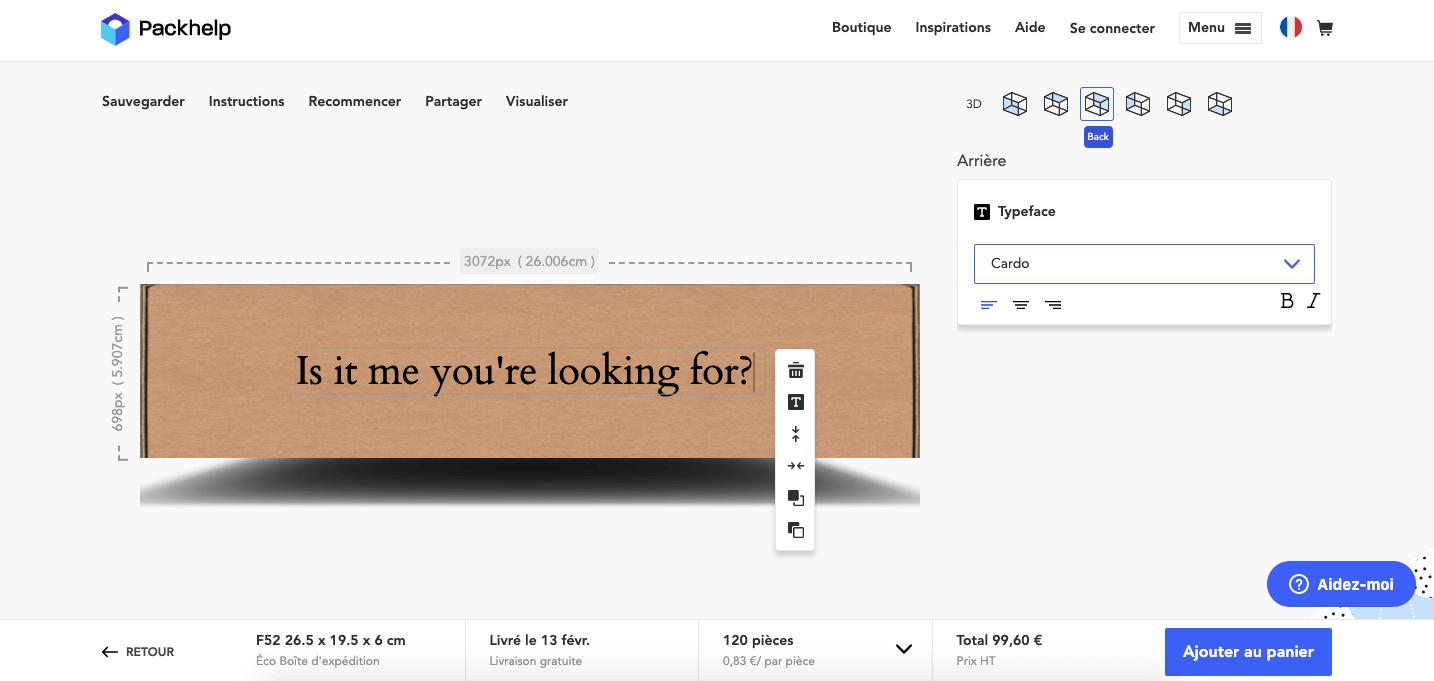 Utilisation de l'éditeur en ligne de Packhelp pour concevoir une boîte d'emballage éco design