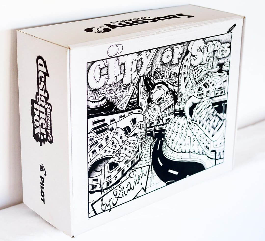 Boîte avec un dessin urbain pour Saucony Originals