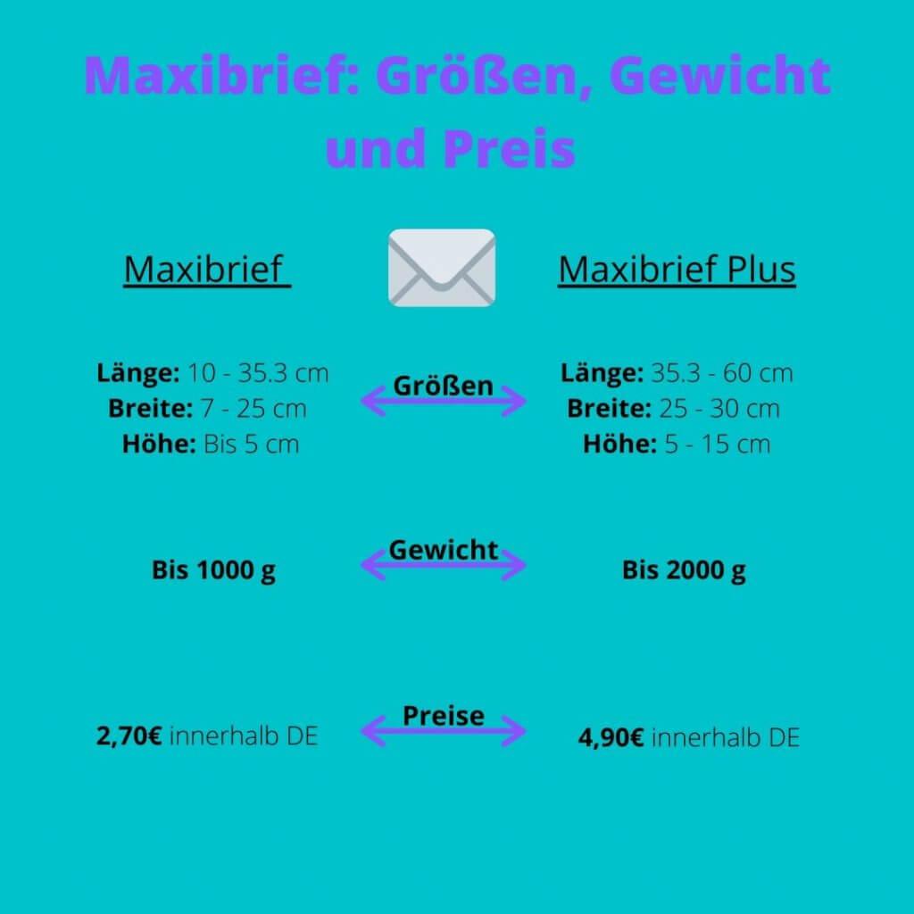 Maxibrief: Größen, Gewicht und Preise