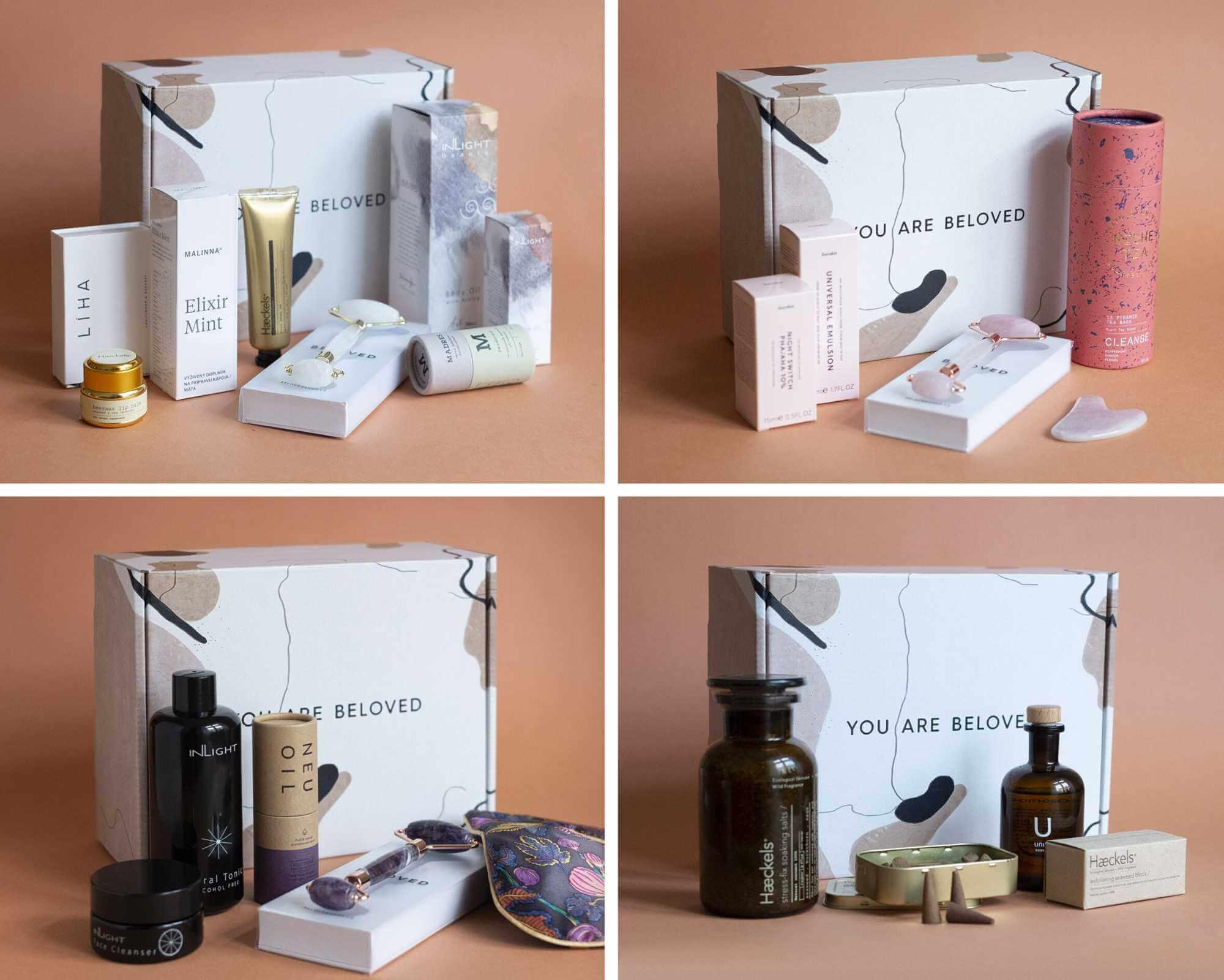 Imballaggi Beloved Shop x Packhelp su sfondo pastello