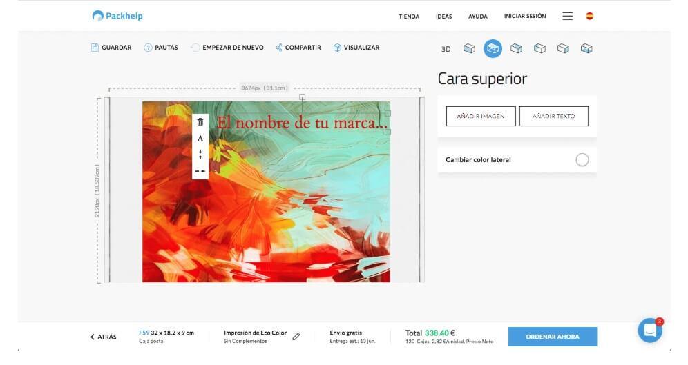 editor online para crear packaging personalizado