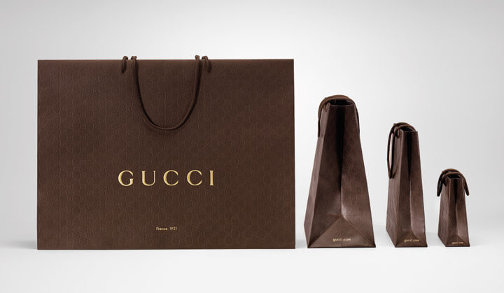 line of luxury and sustainable packaging by gucci